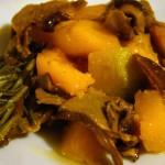 zucca e porcini  e crocchette di zucca accompagnano il  pollo