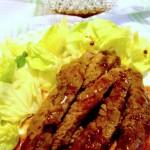 filetti di costata in salsa al vino rosso e gelatina di ribes