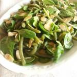 insalata di fagiolini, spinacini e mandorle