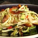 carpaccio di topinambur e julienne di zucchine alle mandorle speziate