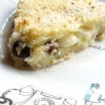 tortino alle patate, formaggi e olive