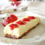 cheese cake al cioccolato bianco e salsa di fragole