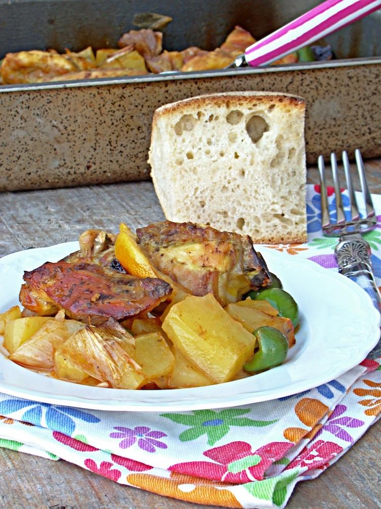 Pollo al limone olive e patate