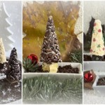 alberi di natale al riso soffiato e cioccolato