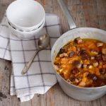 zuppa di zucca castagne e tofu